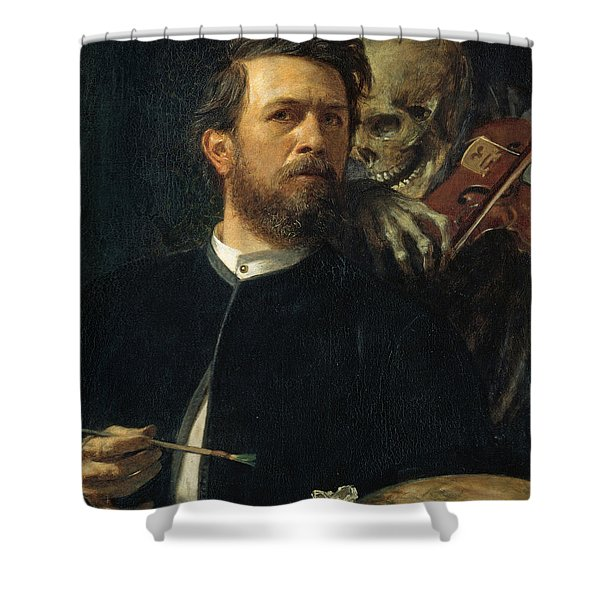 Self Portrait With Death Shower Curtain by Arnold Bocklin