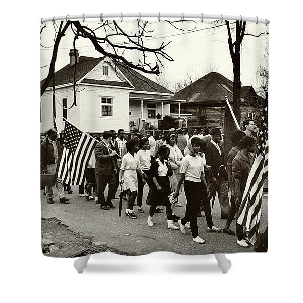 Selma to Montgomery Shower Curtain by Benjamin Yeager
