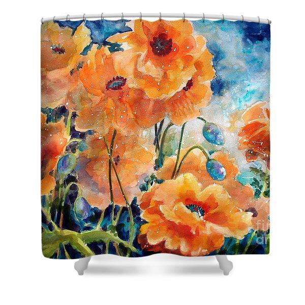 September Orange Poppies Shower Curtain by Kathy Braud