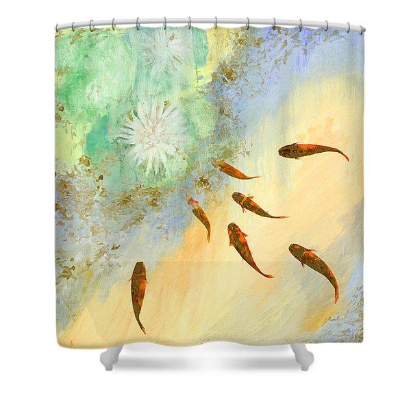 sette pesciolini verdi Shower Curtain by Guido Borelli
