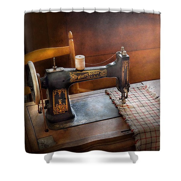 Sewing - It's just Black and White  Shower Curtain by Mike Savad