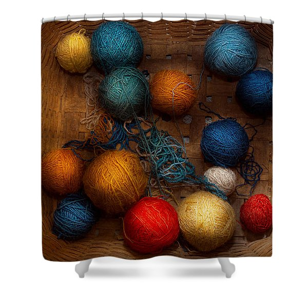 Sewing - Knitting - Yarn for cats Shower Curtain by Mike Savad