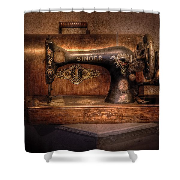Sewing Machine  - Singer  Shower Curtain by Mike Savad