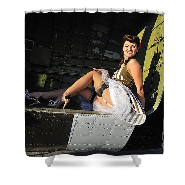 Sexy 1940s Style Pin-up Girl Sitting Shower Curtain by Christian Kieffer