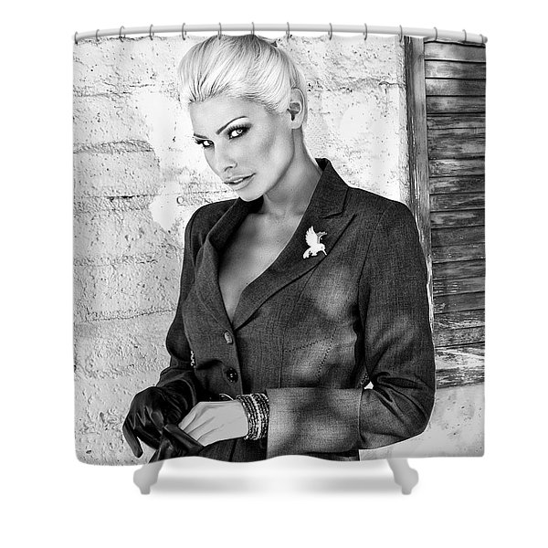 SHADOWING HER BW Palm Springs Shower Curtain by William Dey