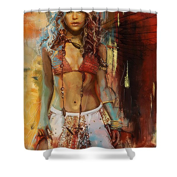 Shakira  Shower Curtain by Corporate Art Task Force