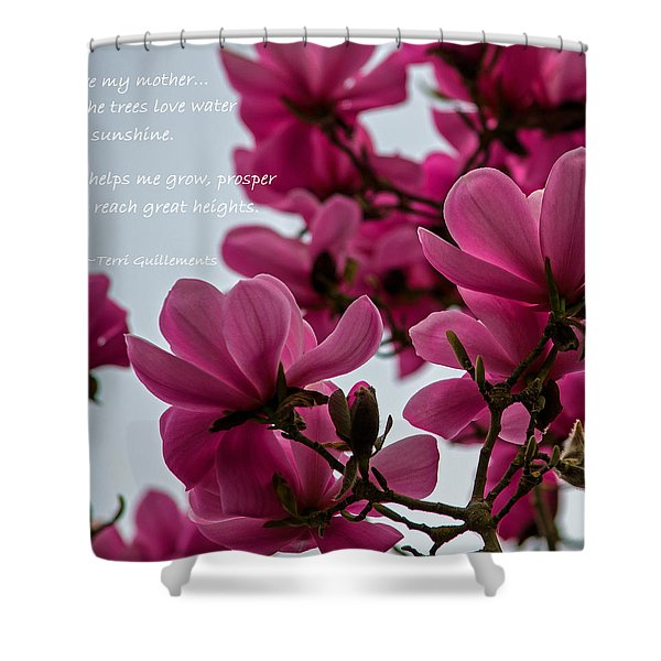 She Helps Me Grow - Mother's Day Shower Curtain by Jordan Blackstone
