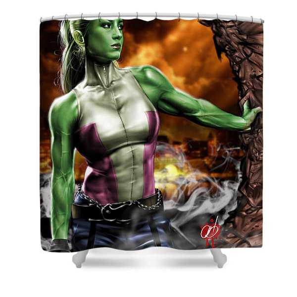 She-Hulk Shower Curtain by Pete Tapang