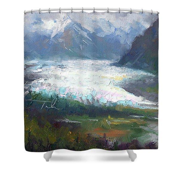 Shifting Light - Matanuska Glacier Shower Curtain by Talya Johnson