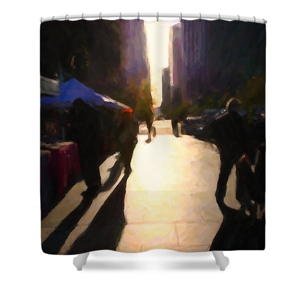 Shopping Stands Along Market Street At San Francisco's Embarcadero - 5d20842 Shower Curtain by Wingsdomain Art and Photography