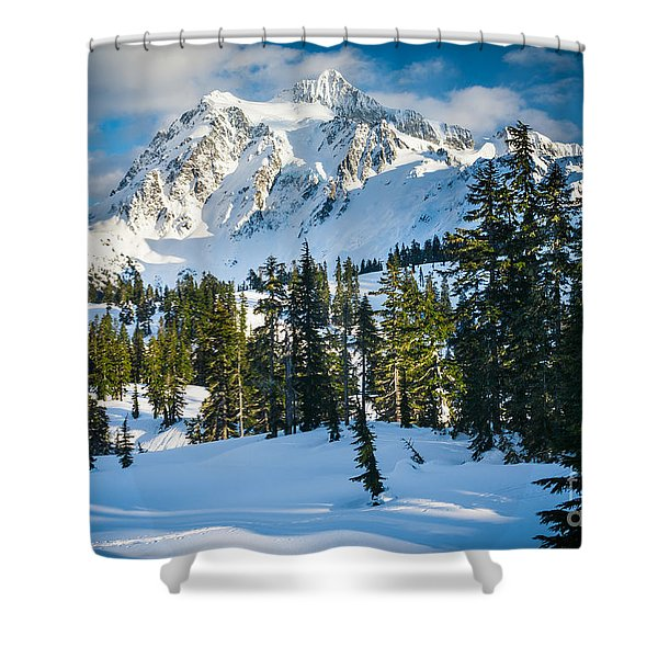 Shuksan Winter Paradise Shower Curtain by Inge Johnsson