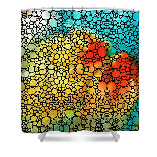 Siesta Sunrise - Stone Rock'd Art Painting Shower Curtain by Sharon Cummings