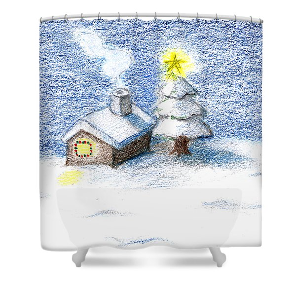 Silent Night Shower Curtain by Keiko Katsuta