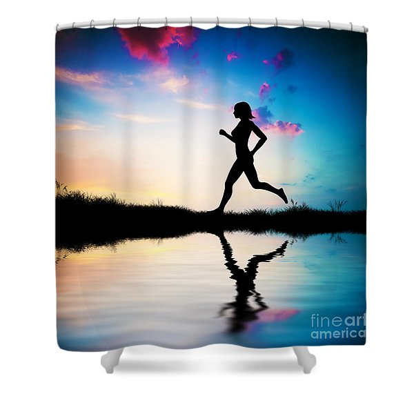 Silhouette of woman running at sunset Shower Curtain by Michal Bednarek