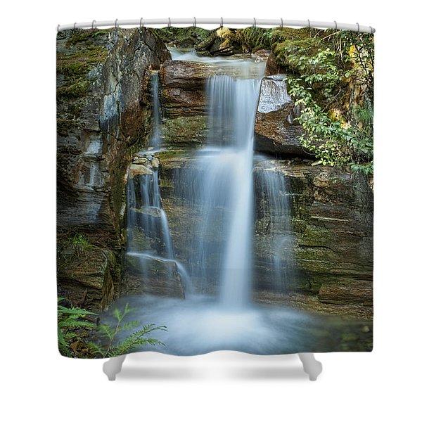 Silky Flow Of Waterfalls, Rainbow Shower Curtain by Roberta Murray
