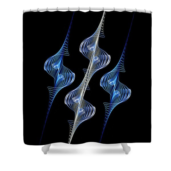 Silver and Blue Spirals Shower Curtain by Sandy Keeton