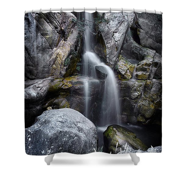 Silver Waterfall Shower Curtain by Carlos Caetano