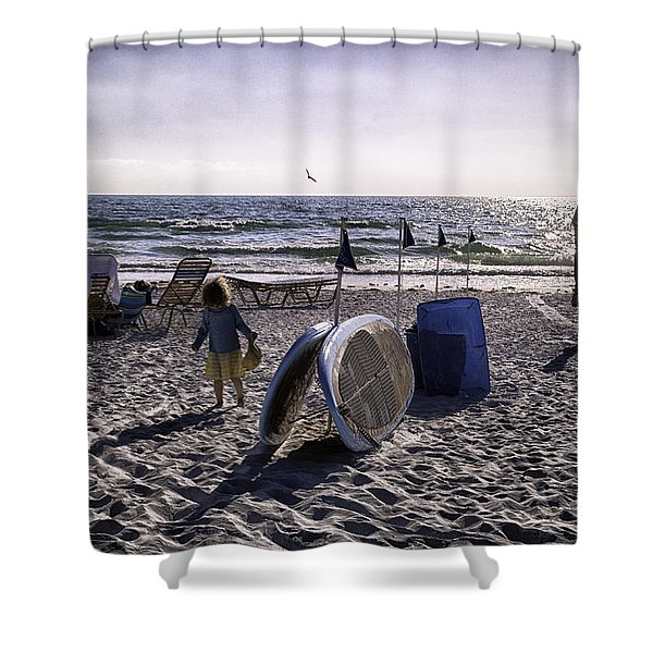 Simpler Times 1 - Miami Beach - Florida Shower Curtain by Madeline Ellis