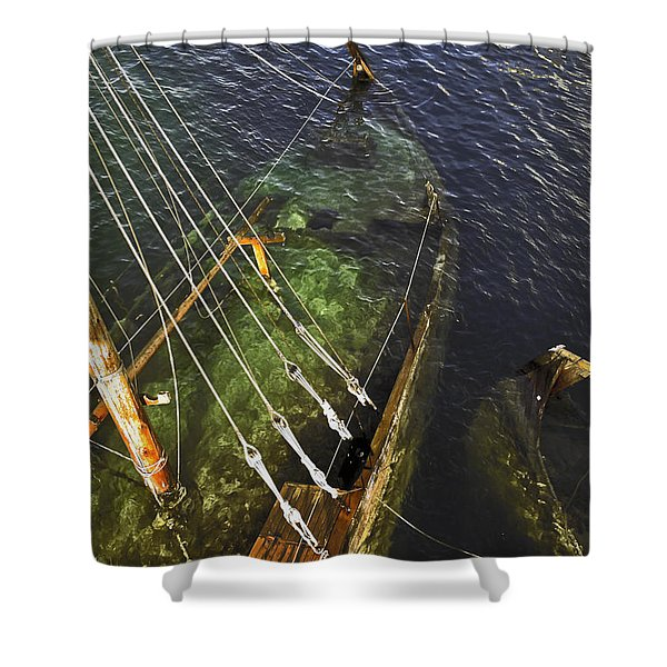 Sinking Sailboat Shower Curtain by Sally Weigand