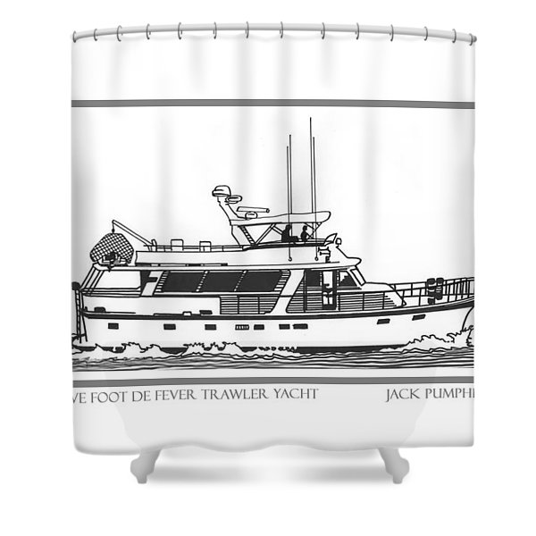 Sixtyfive Foot DeFever Trawler Yacht Shower Curtain by Jack Pumphrey