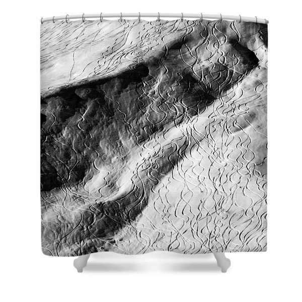 Ski Traces Shower Curtain by Frank Tschakert
