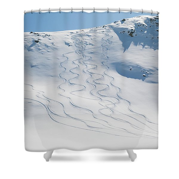 Ski Tracks In The Snow On A Mountain Shower Curtain by Keith Levit