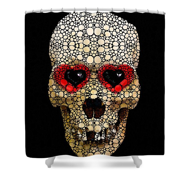 Skull Art - Day Of The Dead 3 Stone Rock'd Shower Curtain by Sharon Cummings