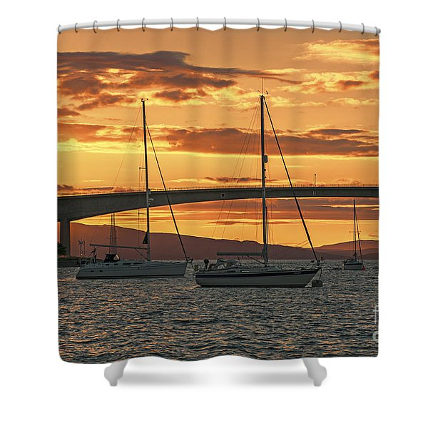 Skye Bridge Sunset Shower Curtain by Chris Thaxter