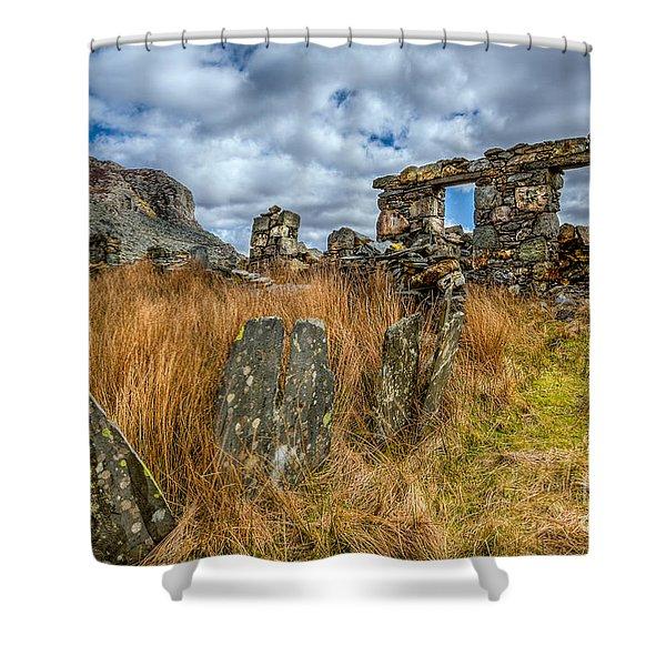 Slate Mine Ruins Shower Curtain by Adrian Evans