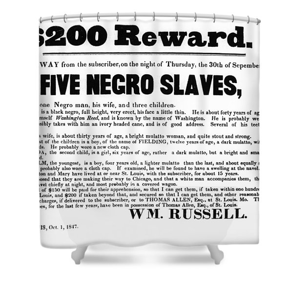 SLAVE FAMILY and CHILDREN ESCAPE - REWARD POSTER - 1847 Shower Curtain by Daniel Hagerman