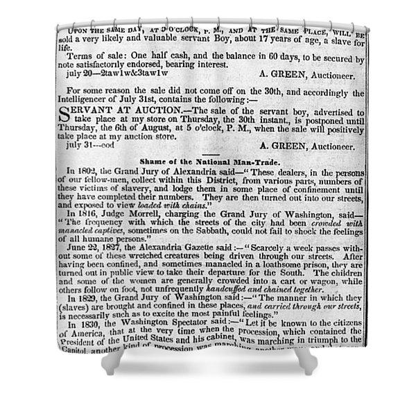 SLAVE TRADE NEWS - 1847 Shower Curtain by Daniel Hagerman