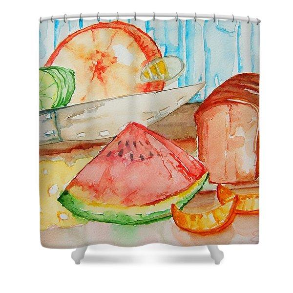 Slice It Shower Curtain by Elaine Duras