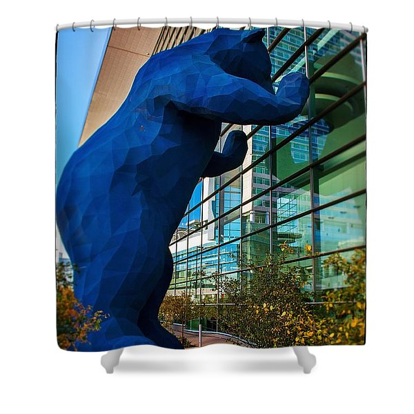 Slightly Blurry Denver Bear Shower Curtain by For Ninety One Days