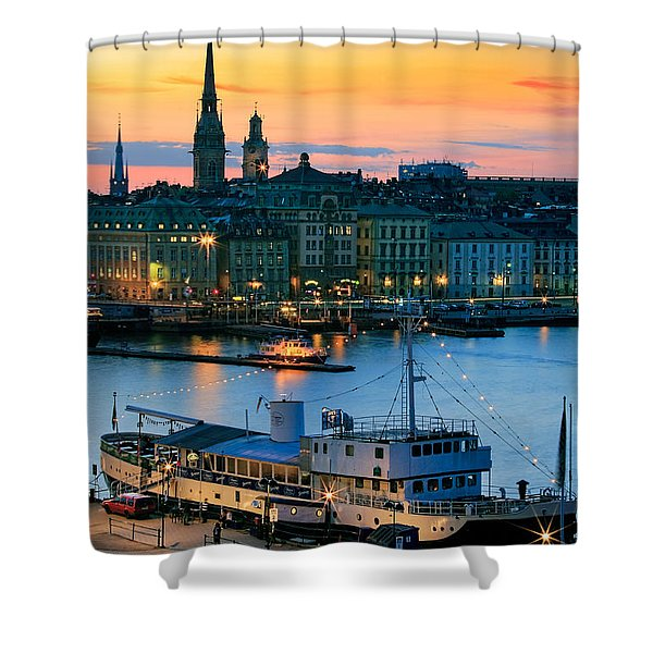 Slussen By Night Shower Curtain by Inge Johnsson