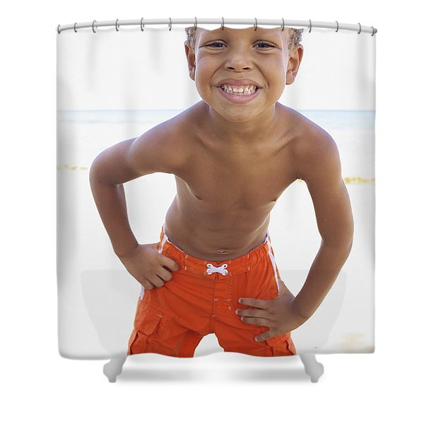 Smiling Boy on Beach Shower Curtain by Kicka Witte