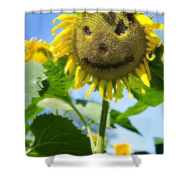Smiling Sunflower Shower Curtain by Donna Doherty
