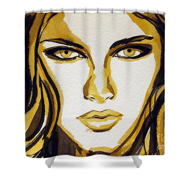 Smokey Eyes Woman Portrait Shower Curtain by Patricia Awapara