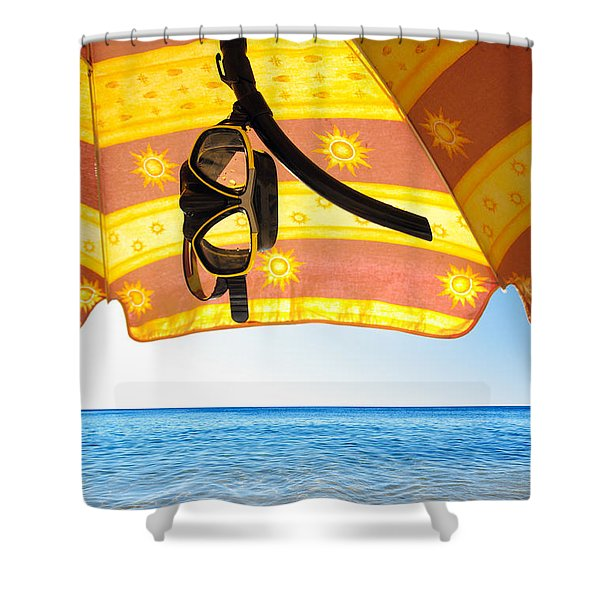 Snorkeling Glasses Shower Curtain by Carlos Caetano