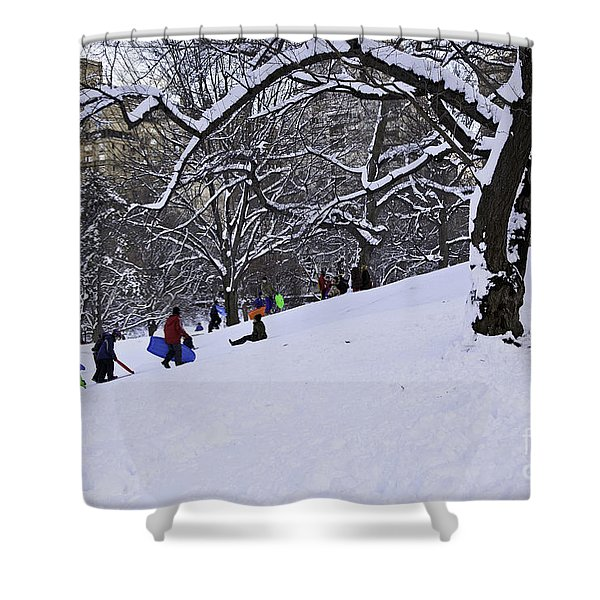 Snow Day in the Park Shower Curtain by Madeline Ellis
