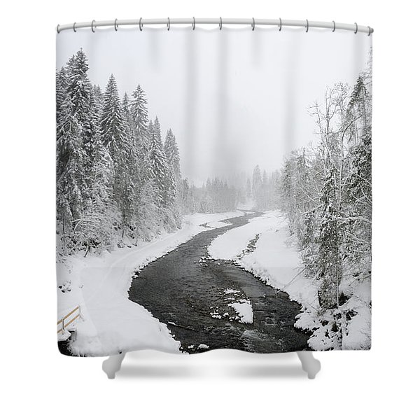 Snow Landscape - Trees and river in winter Shower Curtain by Matthias Hauser