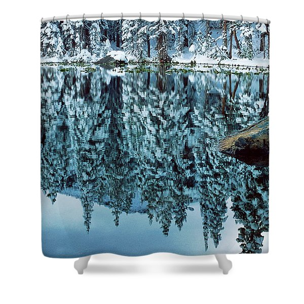Snow Mirror Shower Curtain by Eric Glaser