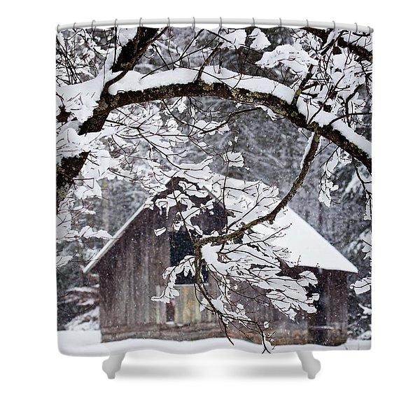 Snowy Barn 2 Shower Curtain by Rob Travis