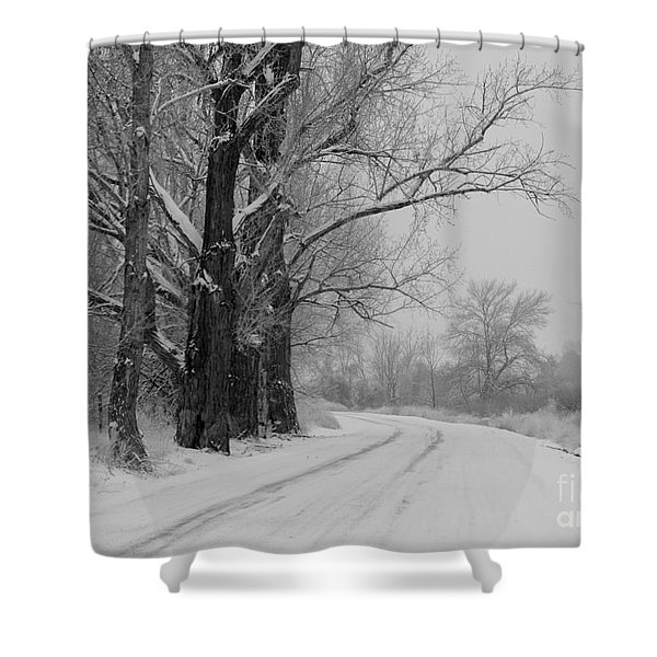 Snowy Country Road - Black And White Shower Curtain by Carol Groenen