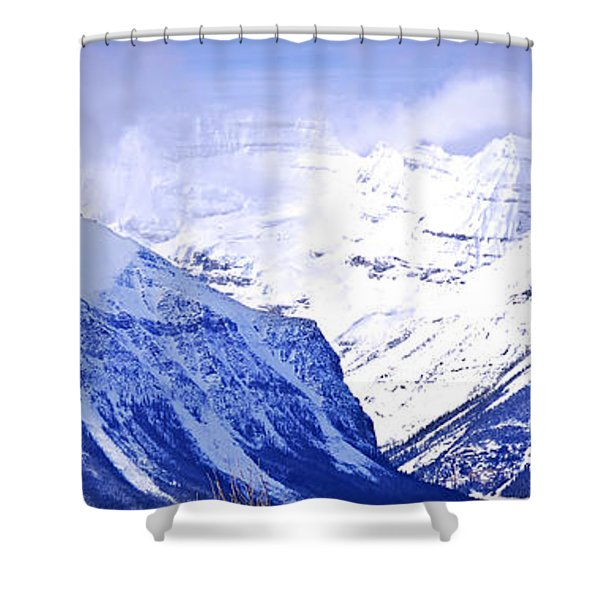 Snowy mountains Shower Curtain by Elena Elisseeva