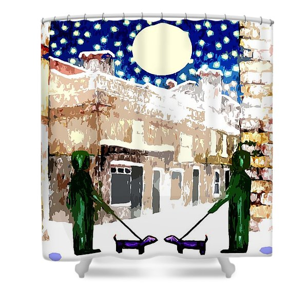 SNOWY NIGHT Shower Curtain by Patrick J Murphy