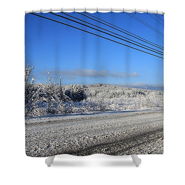 Snowy Roads Shower Curtain by Michael Mooney