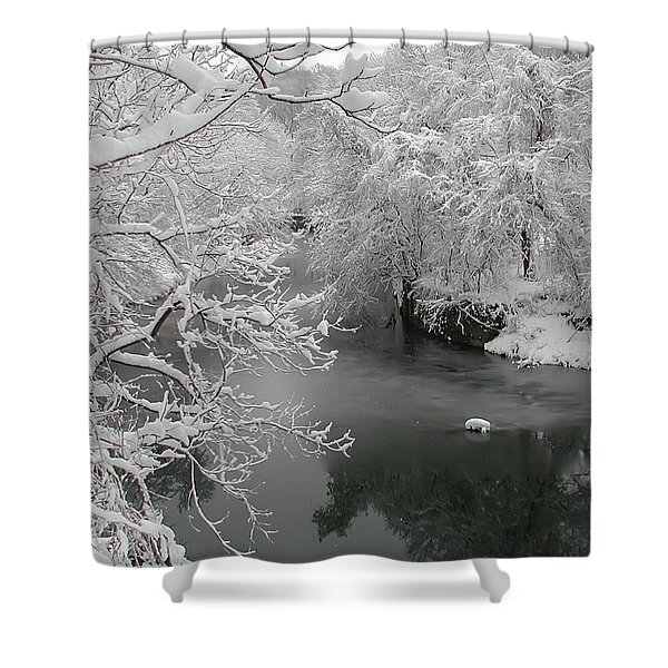 Snowy Wissahickon Creek Shower Curtain by Bill Cannon