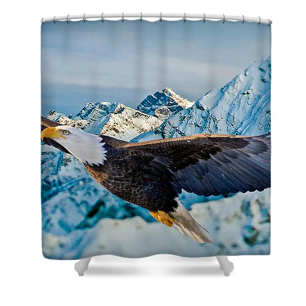 Soaring Bald Eagle Shower Curtain by Gary Keesler