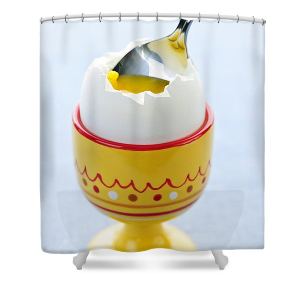 Soft Boiled Egg In Cup Shower Curtain by Elena Elisseeva