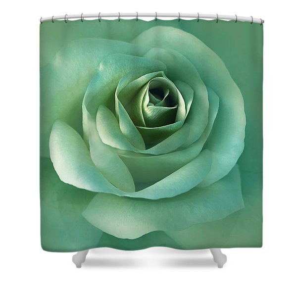 Soft Emerald Green Rose Flower Shower Curtain by Jennie Marie Schell